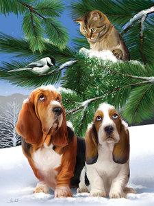 Diamond Painting pakket - Poesje gooit sneeuw op hondjes onder een tak 40x55 cm