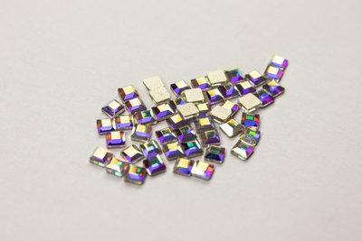 Vierkantje 4 mm Crystal AB Non hotfix Rhinestones figuren Superior Glamour kwaliteit