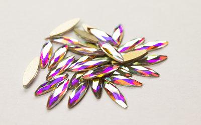 Rijstkorrel 11 mm Crystal AB Non hotfix Rhinestones figuren Superior Glamour kwaliteit