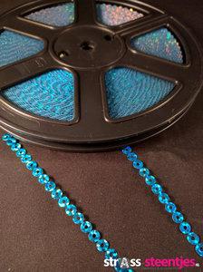 strijkbare pailletten op rol kleur aquamarine
