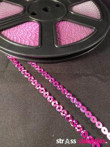strijkbare pailletten op rol kleur fuchsia