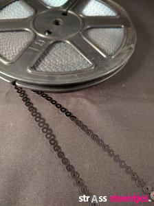 strijkbare pailletten op rol kleur zwart