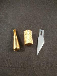 Hotfix applicator opzetstukje hot knife mesje opschroefbaar goud kleurig