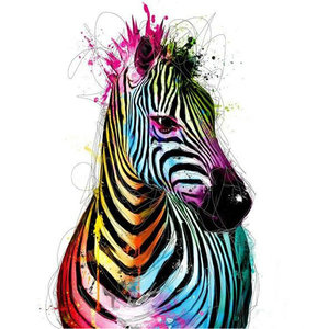 Diamond Painting pakket - Gekleurde zebra 30x30 cm