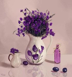 Lavendel in een vaas 30x32 cm