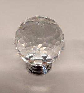 Deurknoppen 40 mm Zilveren voet Kleur Crystal