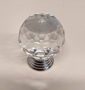 Deurknoppen 30 mm Zilveren voet Kleur Crystal