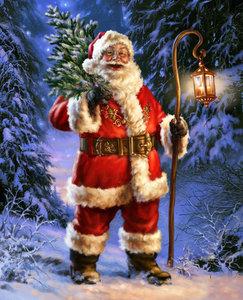 Diamond Painting pakket - De kerstman met lantaarn en boom in het bos 30x37 cm
