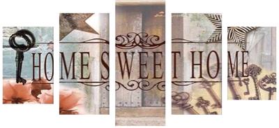 Home Sweet Home 5 luik 2x20x30x, 2x20x40, 1x20x50 cm