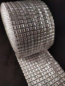 Non hotfix mesh rol Kleur Zilver vierkant met zilver cirkel