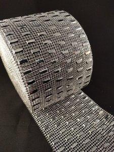 non hotfix mesh rol kleur zilver met rechthoek