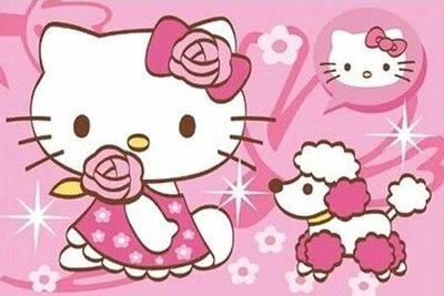 Diamond Painting pakket -Hello Kitty met hondje 30x20 cm (full)