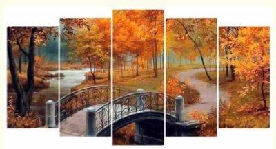 Diamond Painting pakket - Herfstbos 5 luik 2x20x40, 2x20x45, 1x20x55 cm (full)