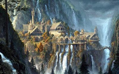 Diamond Painting pakket - Magische watervallen langs gebouw in de bergen 80x50 cm (full)
