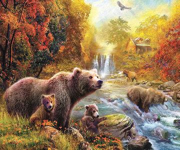 Diamond Painting Pakket - Familie beer aan het vissen bij de rivier 50x42 cm