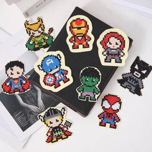 Diamond Painting Stickers - Set mini Superhelden - 9 stuks
