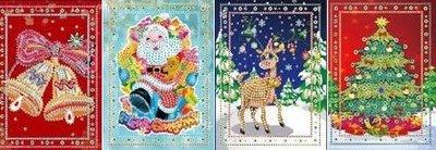 Diamond Painting Kerstkaarten - Set van 4 stuks (Partial) - Set Diverse E
