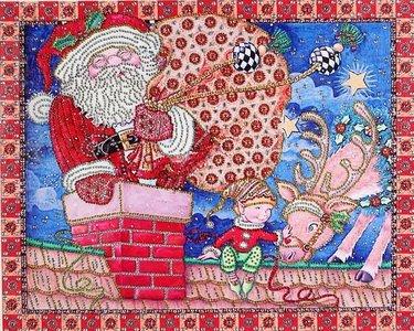 Diamond Painting pakket - Kerstman in de schoorsteen met speciale vormstenen 50x40 cm (Special)