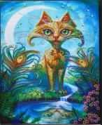 Diamond Painting pakket - Fantasie kat met speciale vormstenen 30x40 cm (Special)
