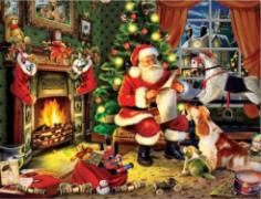 Diamond Painting met LED-verlichting - De Kerstman bij het haardvuur 40x50 cm (full)