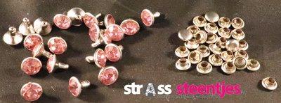 Studs met Strass Light Rose 8 mm