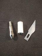 Hotfix applicator opzetstukje hot knife mesje opschroefbaar zilver kleurig