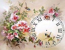 Rose Rozen met klok romeinse cijfers 40x55 cm