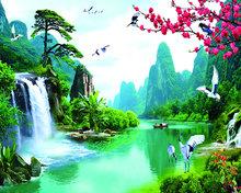 Paradijs met waterval en vogels 50X40 cm