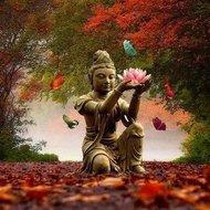 Diamond Painting pakket - Buddha met lelie in de herfst 40x40 cm