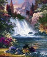 Diamond Painting pakket - Prachtige waterval met berg op de achtergrond 50X60 cm