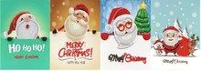 Diamond Painting Kerstkaarten - Set van 4 stuks (Partial) - Set kerstmannen