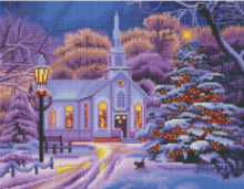 Diamond Painting met LED-verlichting - Verlicht wit kerkje in de sneeuw 40x50 cm (full)